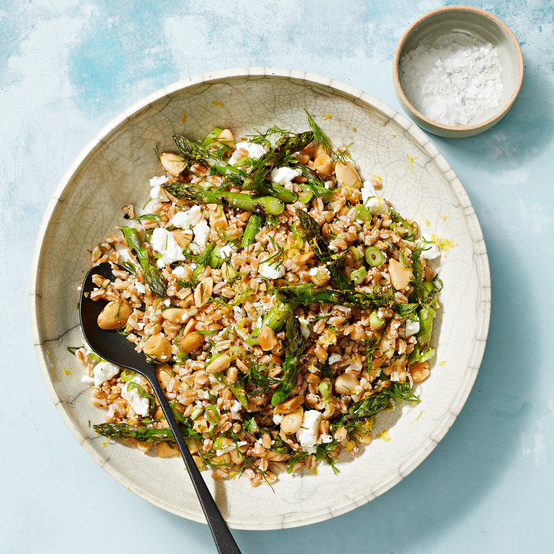 Grilled Asparagus and Farro Salad recipe
