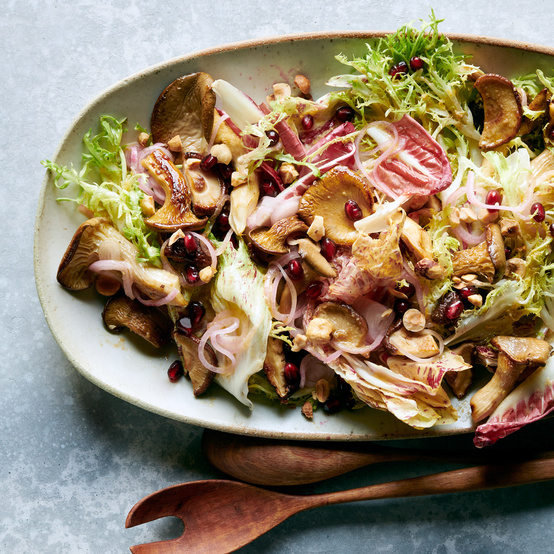 warm mushroom and chicories salad