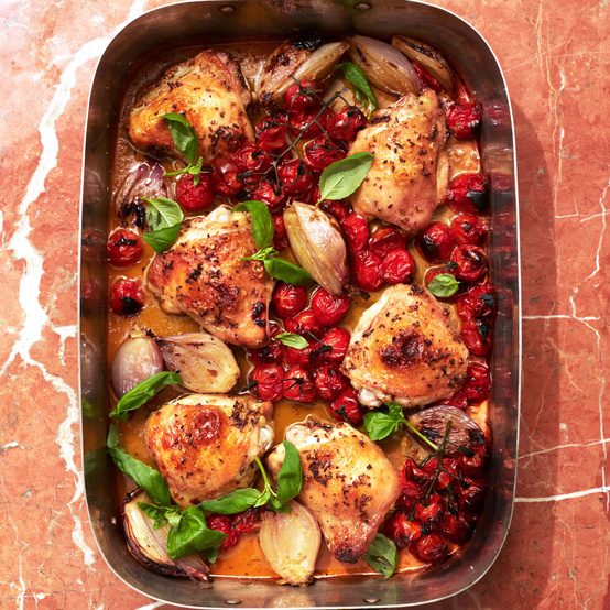 Chicken Thighs With Cherry Tomatoes and Pernod