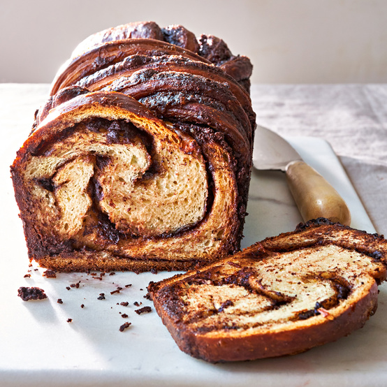 chocolate-cinnamon swirl bread sliced