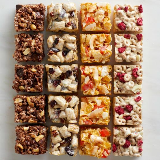 full grid of crispy rice cereal treats