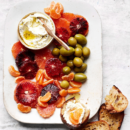 Citrus and Green Olives with Goat Cheese recipe