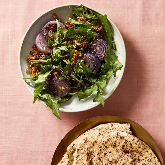 passover dandelion red onion and walnut salad