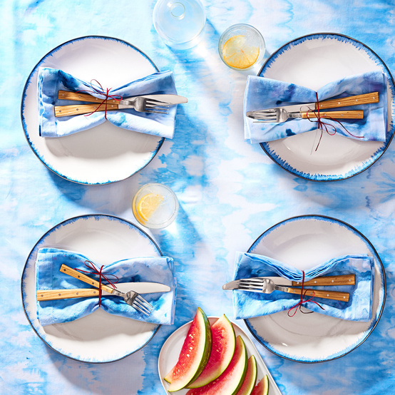 blue ice dyed table cloth and napkins
