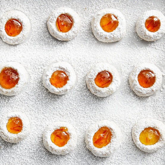 orange-almond thumbprint cookies