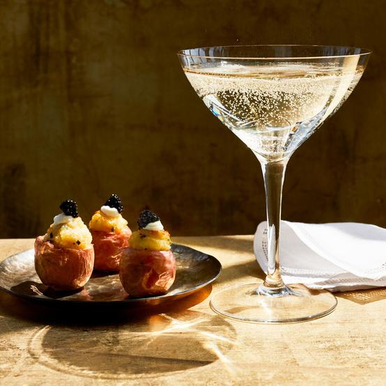 """Twice Baked"" Baby Potatoes with Caviar recipe"