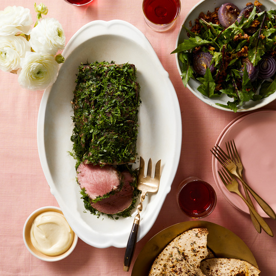 passover herb-coated beef tenderloin with roasted-garlic aioli