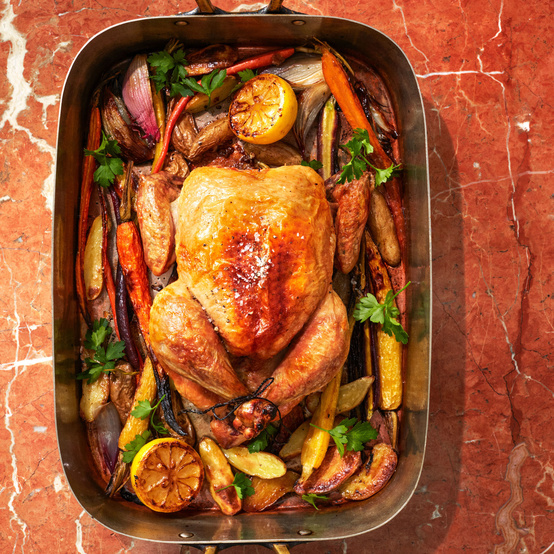 Roast Chicken With Vegetables and Potatoes