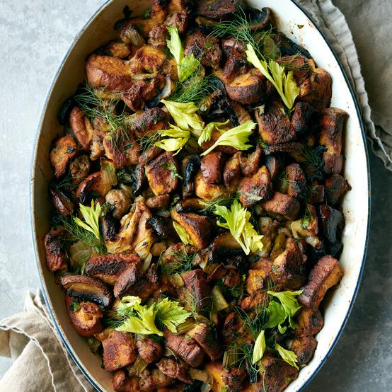 portobello sausage and fennel dressing