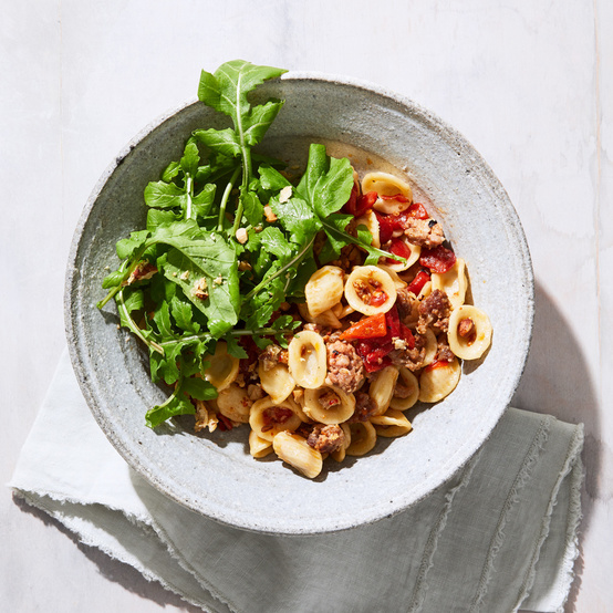 Sausage and Peppers Pasta with Almond Frico