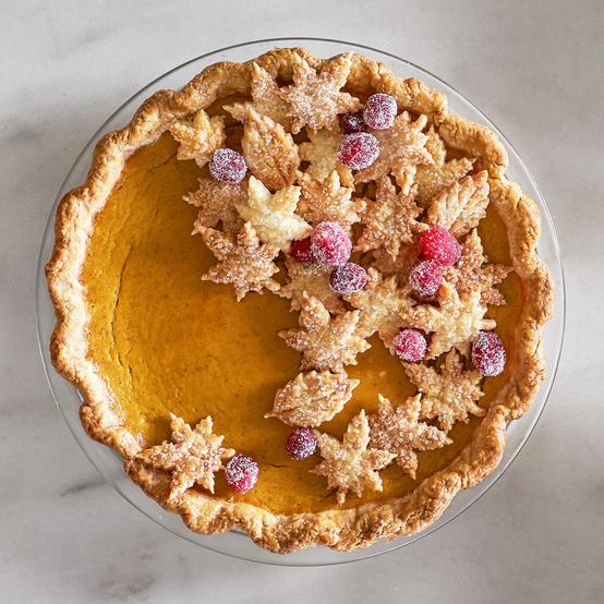 Sweet Potato Pie with Decorative Leaves