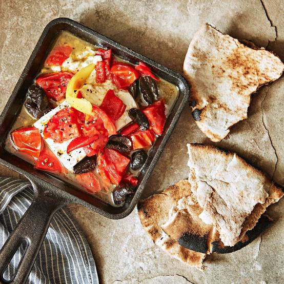 Tomato, Feta, and Red Pepper Cazuela