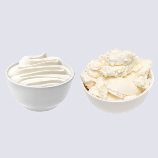 mascarpone cheese and sour cream in bowls