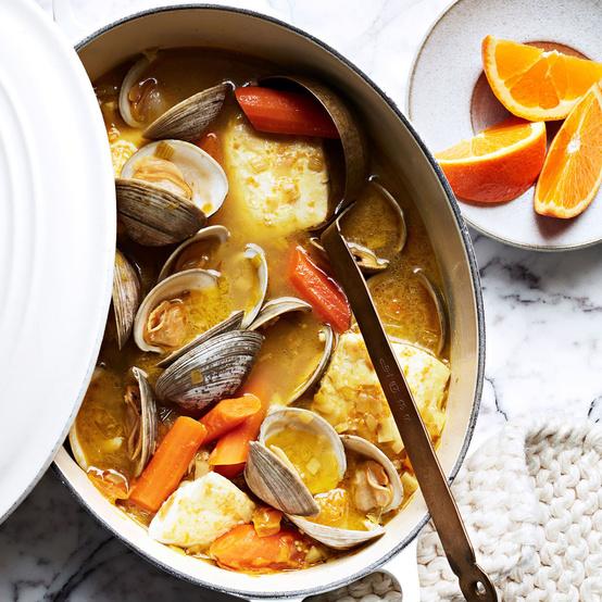 Clams and White Fish in Carrot-Saffron Broth recipe