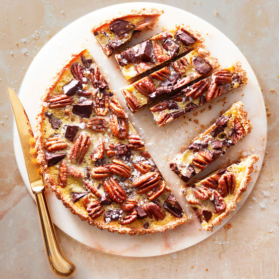 coconut-pecan tart topped with flaky sea salt