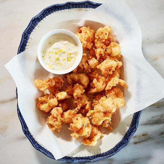 crunchy shrimp fritters served with tartar sauce