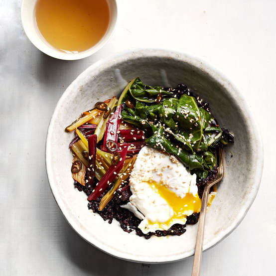 Gingery Rainbow-Chard and Black-Rice Bowl recipe