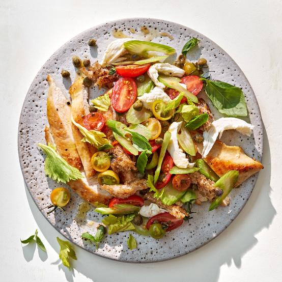 Chicken Paillard With Caprese Panzanella