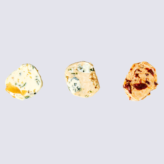 three variations of flavored butters for corn