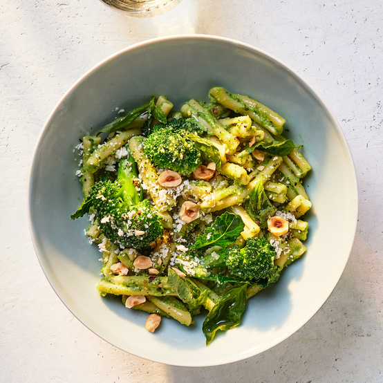 broccoli-and-hazelnut-pesto pasta served with parmigiano