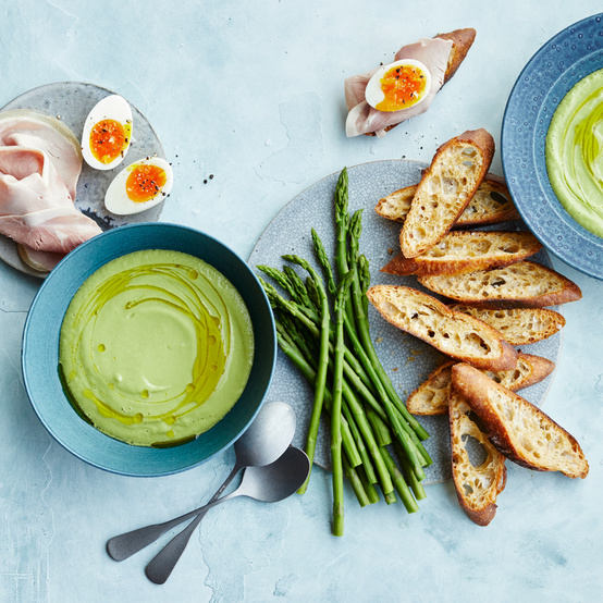 chilled avocado-cucumber soup with crostini ham and eggs