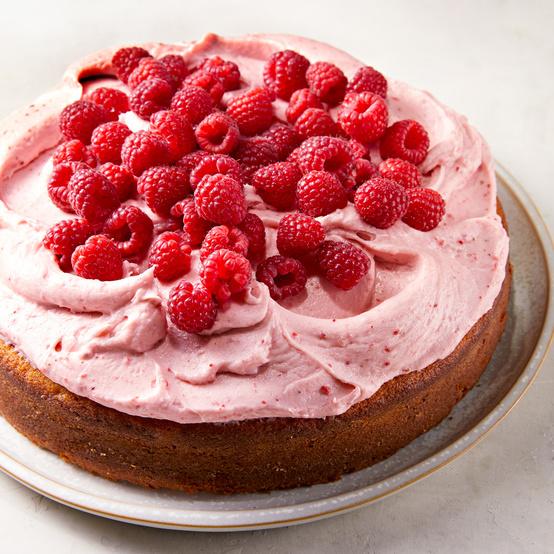 Lemon Cake with Raspberry-Cream Cheese Frosting