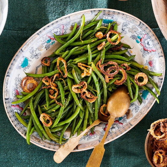 Green Beans With Crispy Oven-Fried Onions