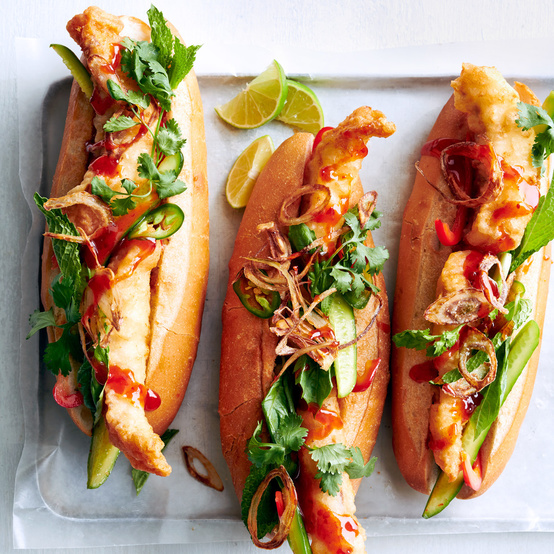 Fried-Fish Subs with Thai-Style Chili Sauce and Herbs