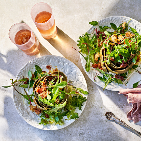 Artichoke Salad with Warm Tomato Vinaigrette