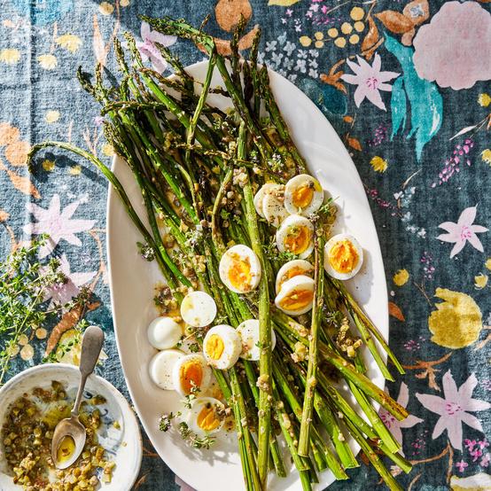 Grilled Asparagus with Caper-Cornichon Vinaigrette