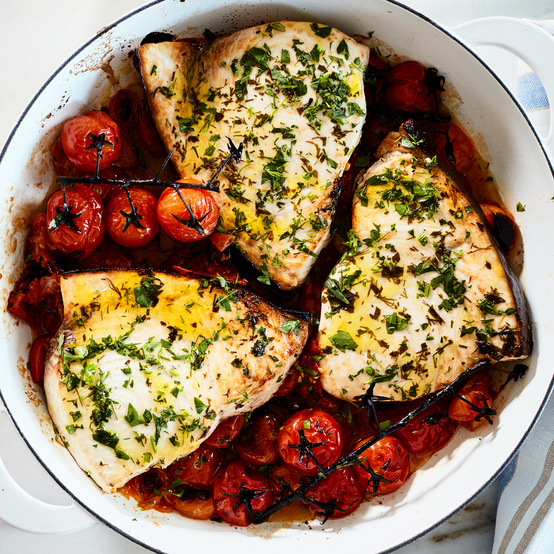 herby broiled swordfish with roasted cherry tomatoes
