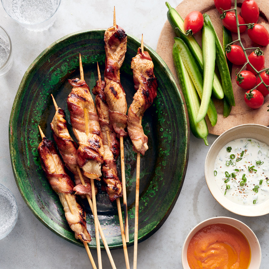 Grilled Buttermilk Chicken Tenders with Dipping Sauces