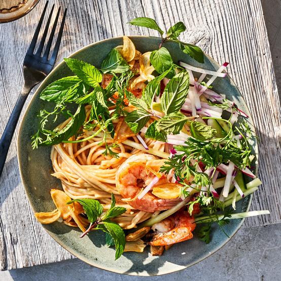 Pepper-Shrimp-and-Noodle Salad with Crunchy Spring Vegetables
