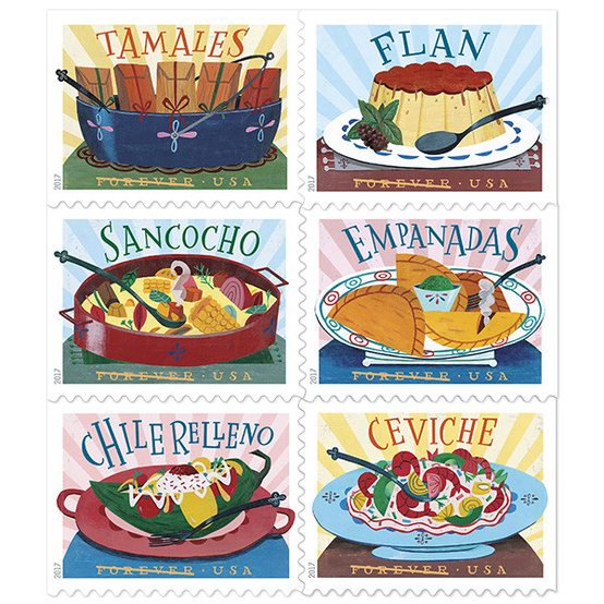 The first postage stamps featuring Latin-American food