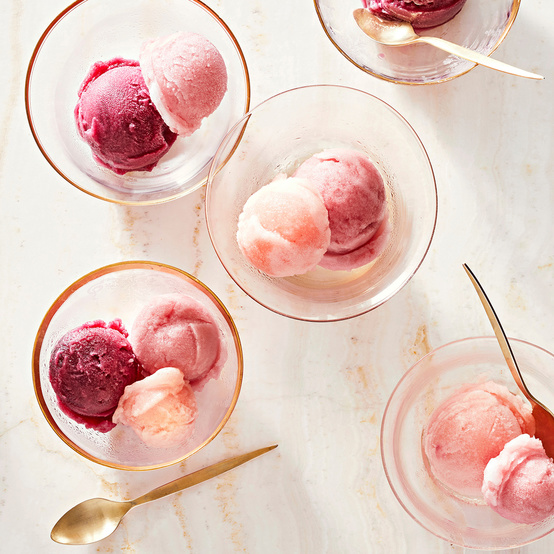 concord grape–rosemary guava-basil and cranberry apple-mint sorbets