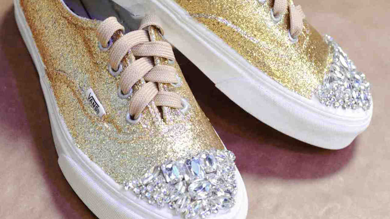 73c9f2dd47e4 Video  DIY Glitter and Rhinestone Sneakers
