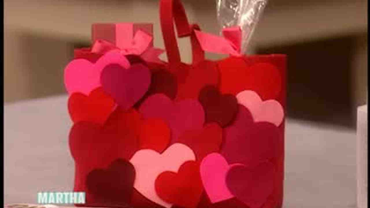 video decorated valentines heart shaped bags martha stewart