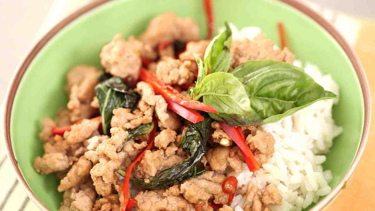 Thai beef with chiles and basil over coconut rice forumfinder Images