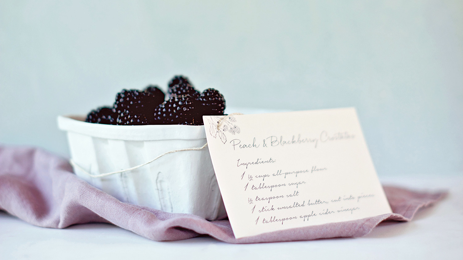 blackberries with recipe card