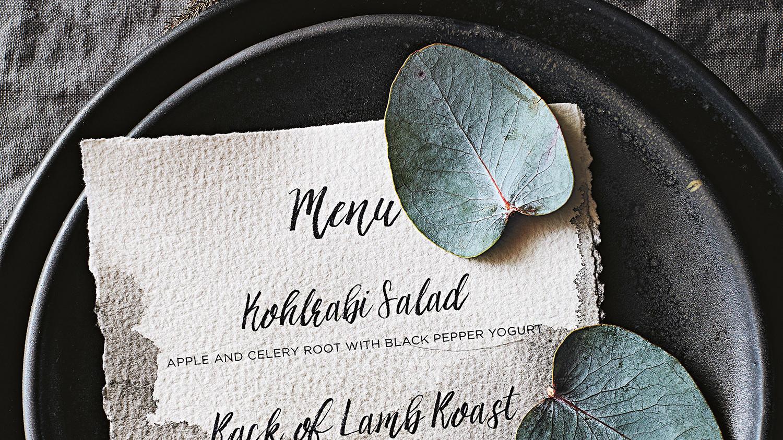 printed menu on black plates