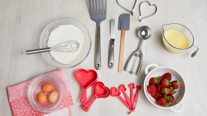 heart-shaped baking tools