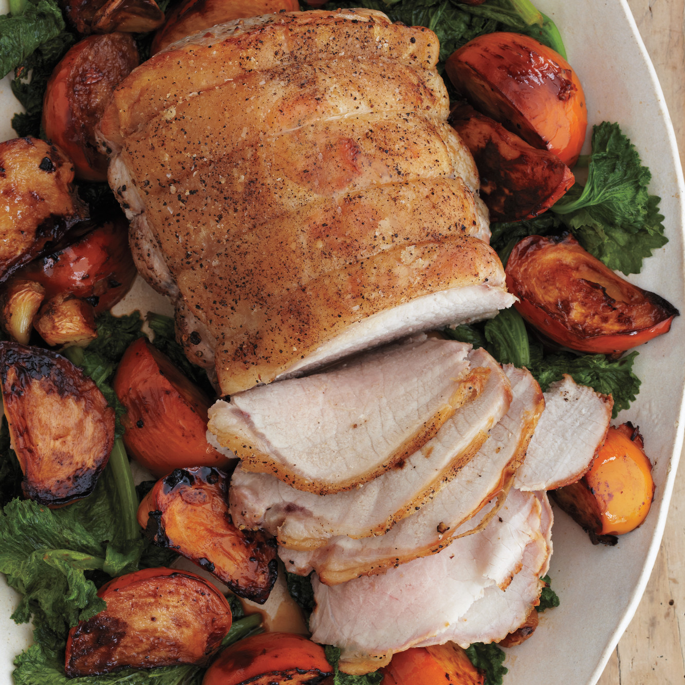 Pork with persimmons and mustard greens for What to serve with thanksgiving turkey