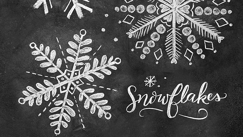 how to draw 3 snowflakes for a hand lettered chalk art sign martha