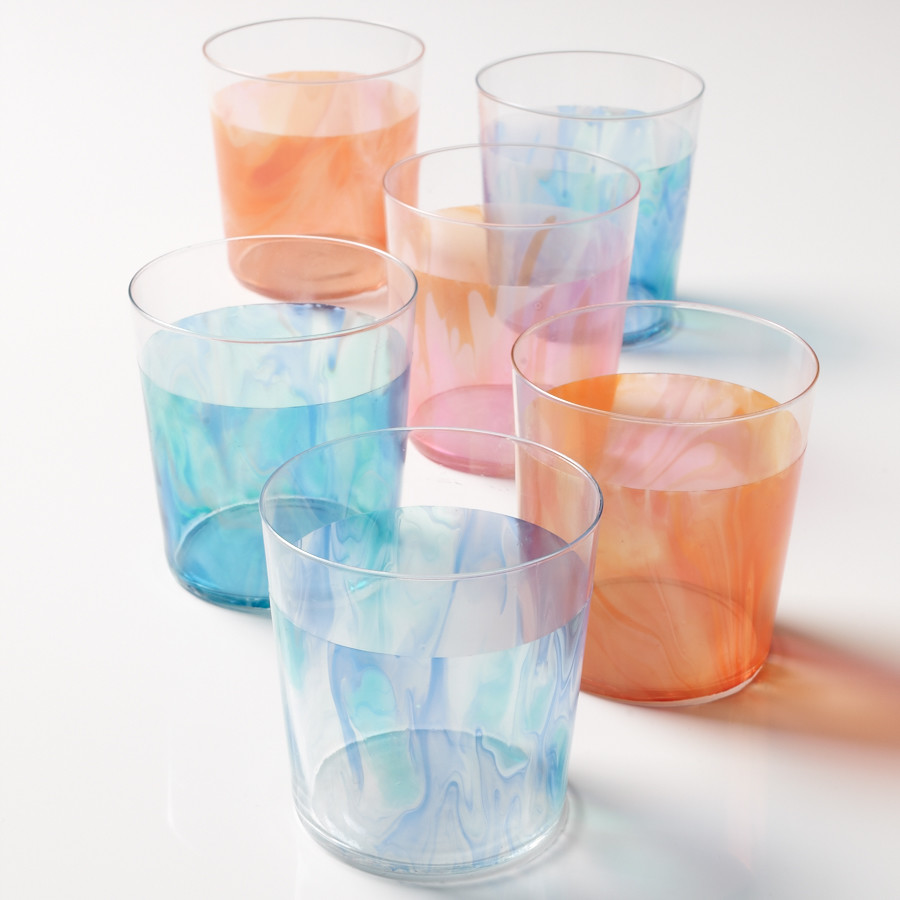Marbleized Glass Tumblers
