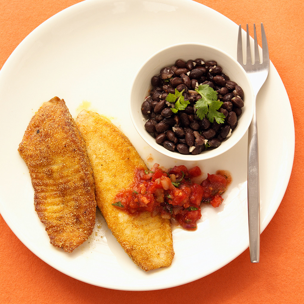 Tilapia with arugula capers and tomatoes pinterest cornmeal crusted tilapia with salsa ccuart Image collections