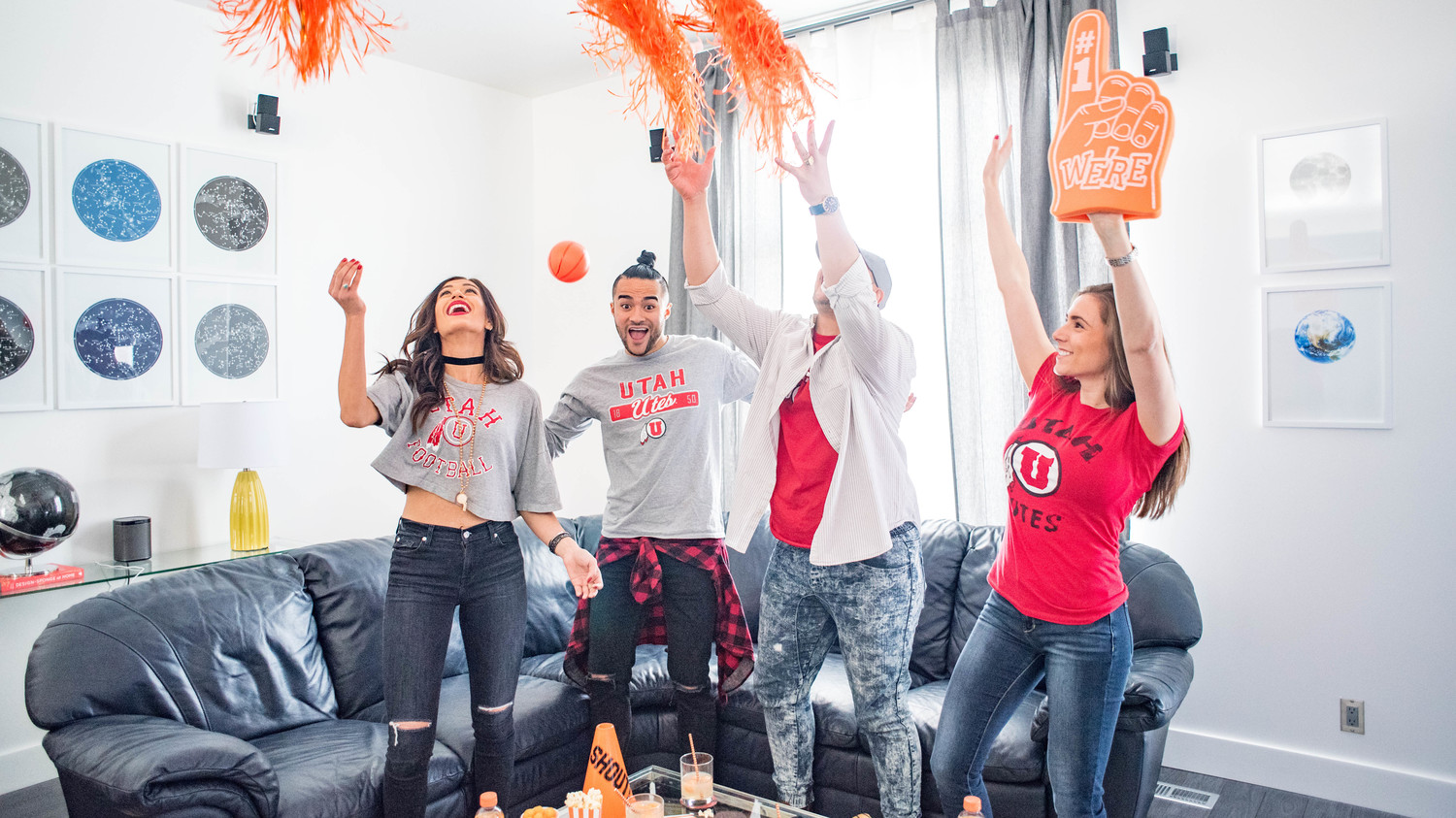 march madness party guests cheering
