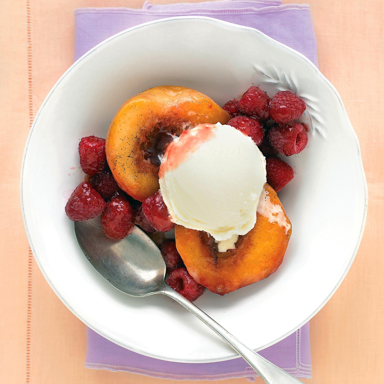 Vanilla Roasted Peaches With Raspberries