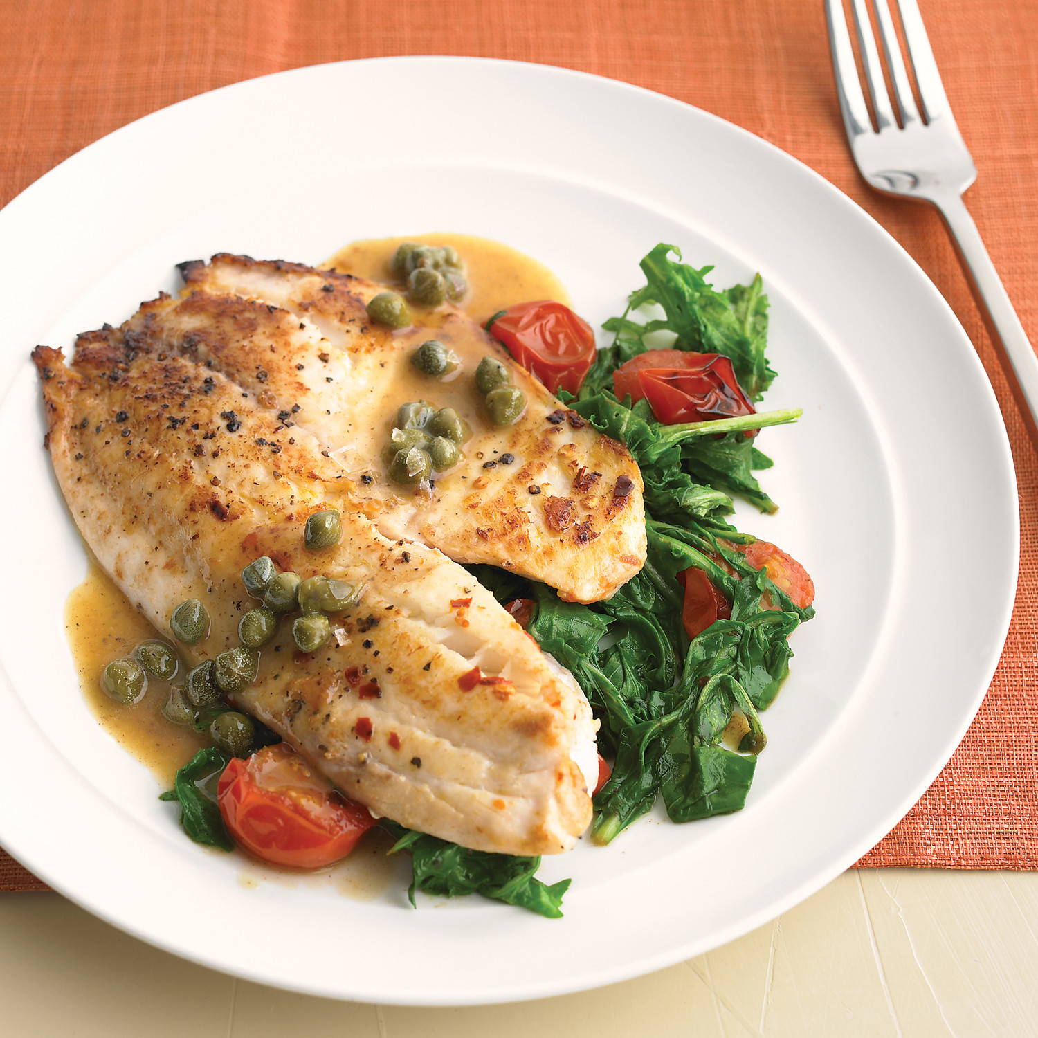 tilapia with arugula capers and tomatoes