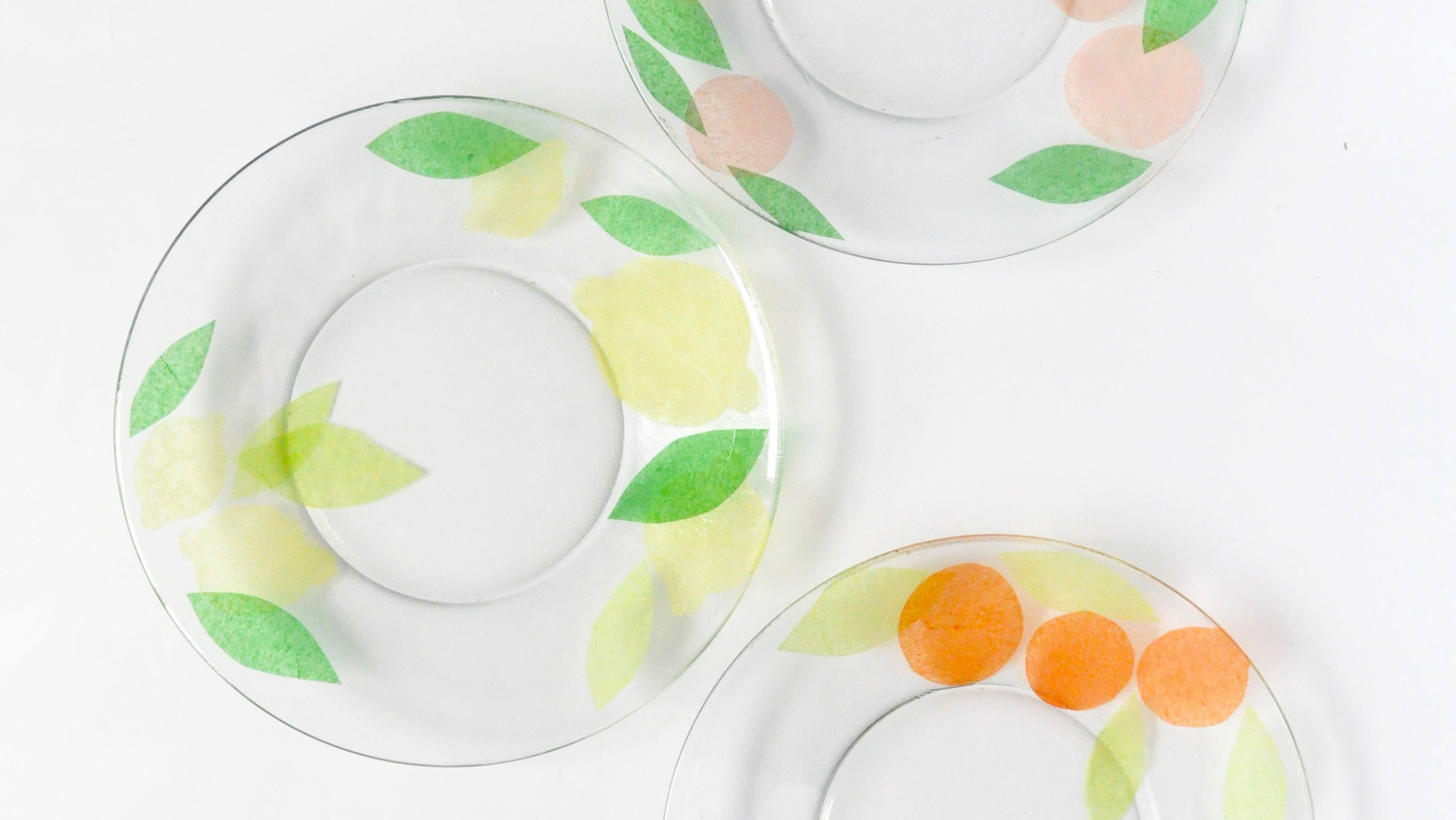 Fruit-Decoupaged Glass Plates