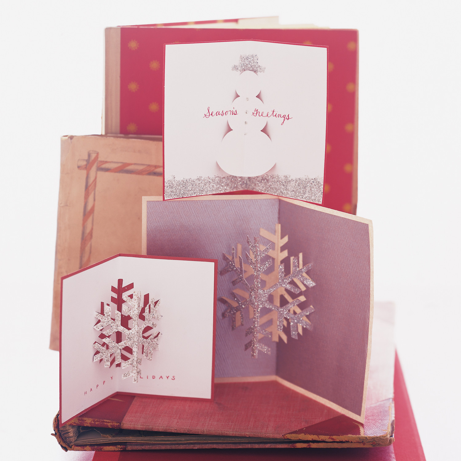 glittered pop up christmas cards martha stewart. Black Bedroom Furniture Sets. Home Design Ideas